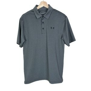 Under Armour Mens Small Heatgear Polo Golf Shirt Grey Striped